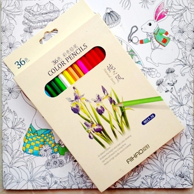 Fantasy Dream Coloring book+36 pencils For adults Children Drawing ...