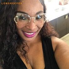2018 New Rimless Gradient Clear Sunglasses Women Transparent Brand Designer Lady Female Sun glasses UV400 Metal Frame Oversized