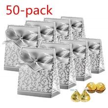 Candy Box, 50PCS Gift Box Cake Ribbon Wedding Party Bag Decoration Thanksgiving Family Banquet Silver Carton