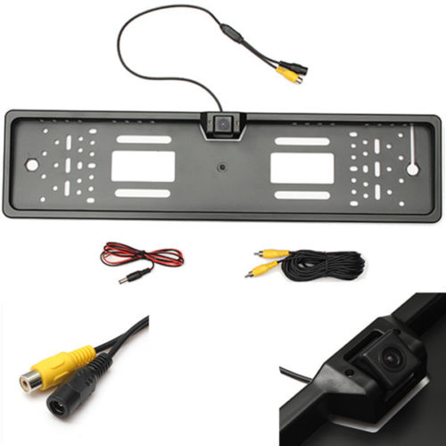 1x HD EU European Auto Car license plate Number Tag Frame&rear view parking backup camera night vision waterproof DVD TV cables