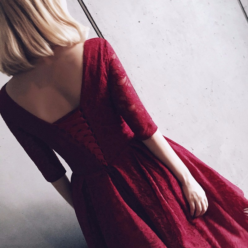 Burgundy lace Prom Dresses A Line V Neck Three Quarter Sleeve vestidos para formatura curto 2017 pageant dresses for women 6