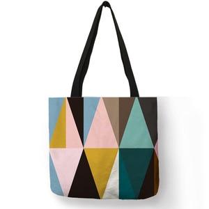 اليومية مفيدة مطوية الهندسة نمط حمل حقيبة الملونة طباعة عارضة حقائب كتف كبيرة قدرة تخزين القماش حقيبة يد للنساء