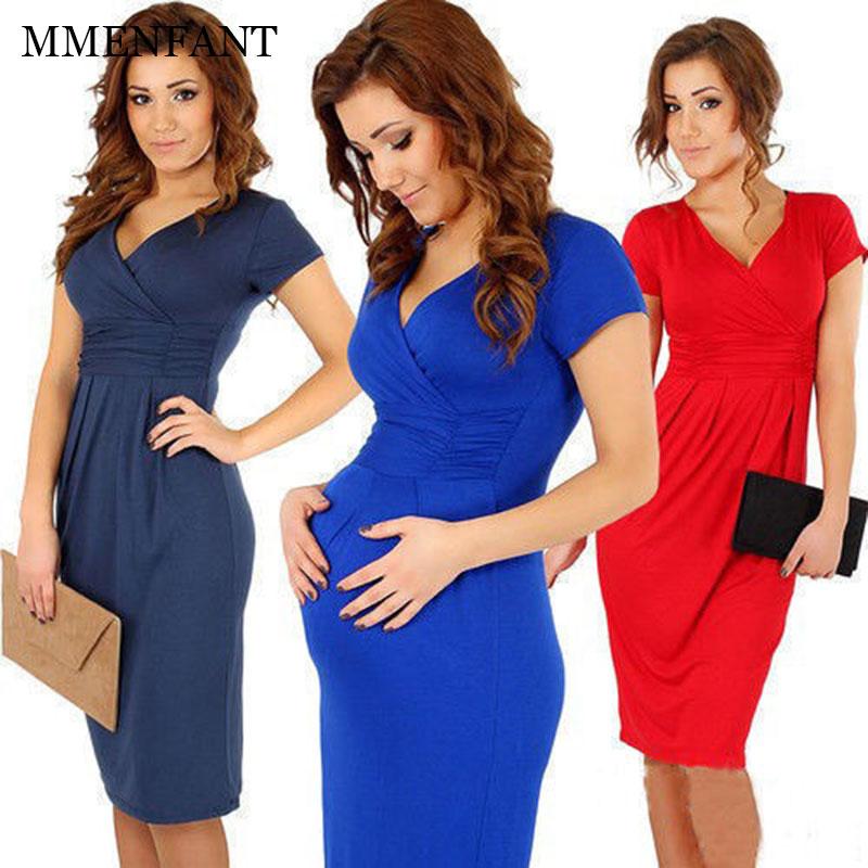 2017 New summer Maternity Dresses Solid V-Neck Knee-Length Dress Clothes For Pregnant Women Maternidade Pregnancy Clothing