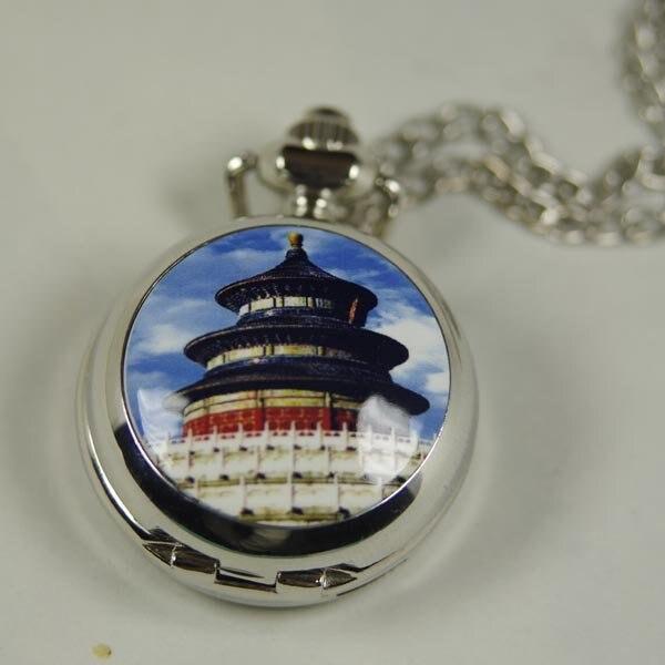 2012 доставка Лидер продаж новых женщин леди Античная мини карманные часы Цепочки и ожерелья серебро Гранд Храм Неба wp367