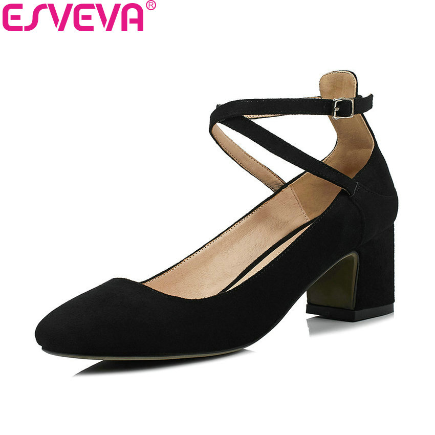ESVEVA 2018 Women Pumps Spring Autumn Square High Heels Buckle Strap Sweet Style Kid Suede PU Square Toe Ladies Shoes Size 34-43 xexy small square toe medium heels natural leather women shoe spring autumn buckle strap dance party sweet platform women pumps