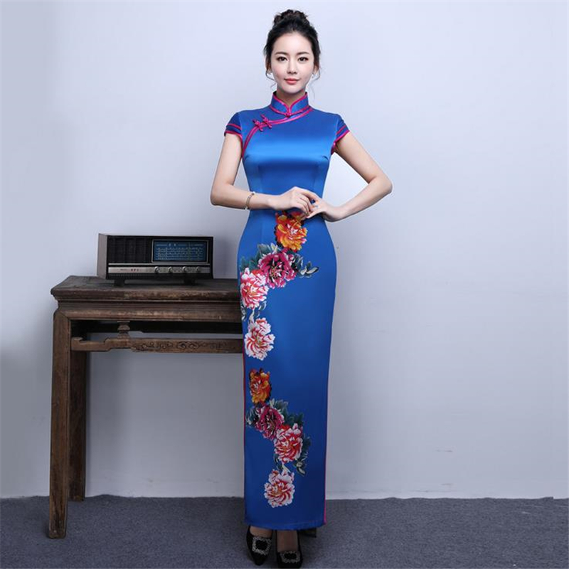 DoreenBow Chinese Style Cheongsam Dress HIGH QUALITY Vintage Qipao Traditional Oriental Flowers Printed Royal Blue Dress, 1 PC