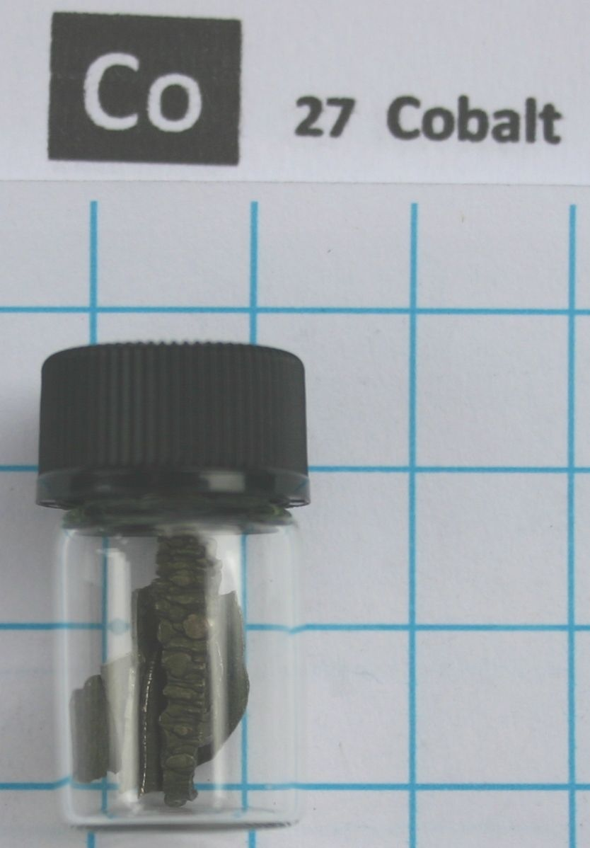 10 gram 99,99% Cobalt Metal in glass vial - Pure Element 27 sample
