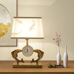 Часы настольная лампа спальня прикроватная лампа новая Китайская классическая гостиная отель модель номер европейский Настольная лампа