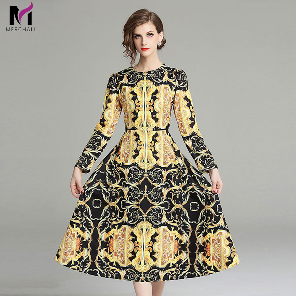 Merchall High Quality 2019 Spring Celebrity Runway Designer Royal Vintage Golden Paisley Retro Floral Print Loose Midi Dresses