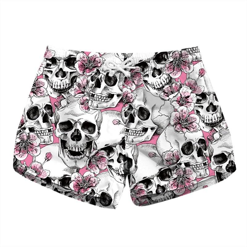 Floral Skull Print Summer   Shorts   Women Bottoms Casual   Shorts   Funny Elastic Waist Femme   Short   Pants Beachwear Dropship
