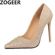 Sıcak altın gümüş mavi yüksek topuklu ayakkabılar kadın pompaları seksi moda lüks Rhinestone düğün parti ayakkabıları bayanlar 2020 ilkbahar sonbahar