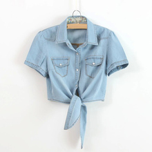 Ladies tie knotted Small Shawl Denim Shirt Korean Short Section Thin Coat Womens Wild More size S-XXL XXXL