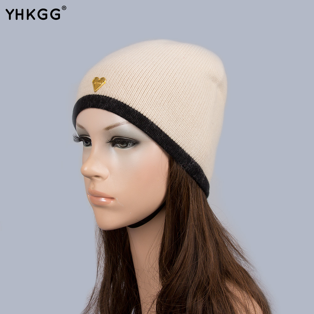 YHKGG Hedging Cap Women 2016 Patchwork Skullies Beanies Cap With Gold Color Heart Striped Hot Autumn Winter Gift For Girl H018 women cap skullies