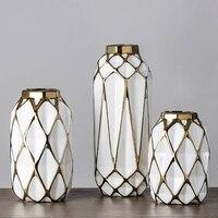 Modern Home Decoration Vase Fashion Honeycomb Shape Ceramic Vase Creative Gold Plated Texture Desktop Accessories Handicrafts