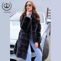 2018 New Real Skin Rex Rabbit Fur Coat Mandarin Collar Real Fur Jacket Natural Full Length Long Coat Rex Fur Women Winter RB 014
