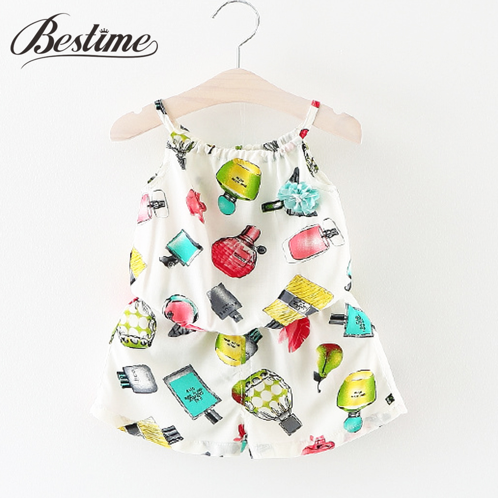 Bestime Baby Girl Clothing Set Infant Suit Perfume Bottle Print Sleeveless Girl Shirt Shorts Set Beach Suit Casual Kid Home Wear