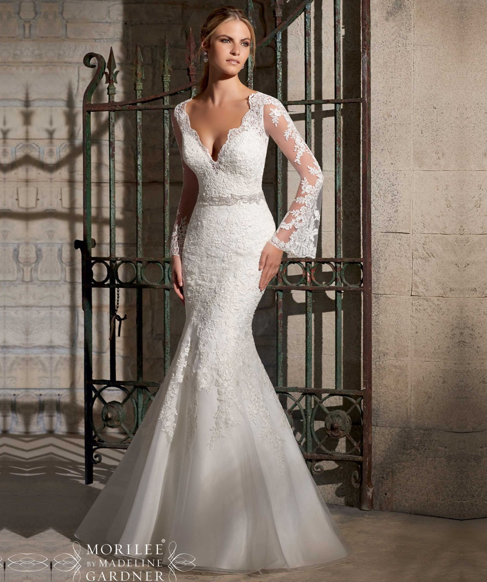 mermaid wedding gowns Designer Deep V Neck Mermaid Wedding Dress Op