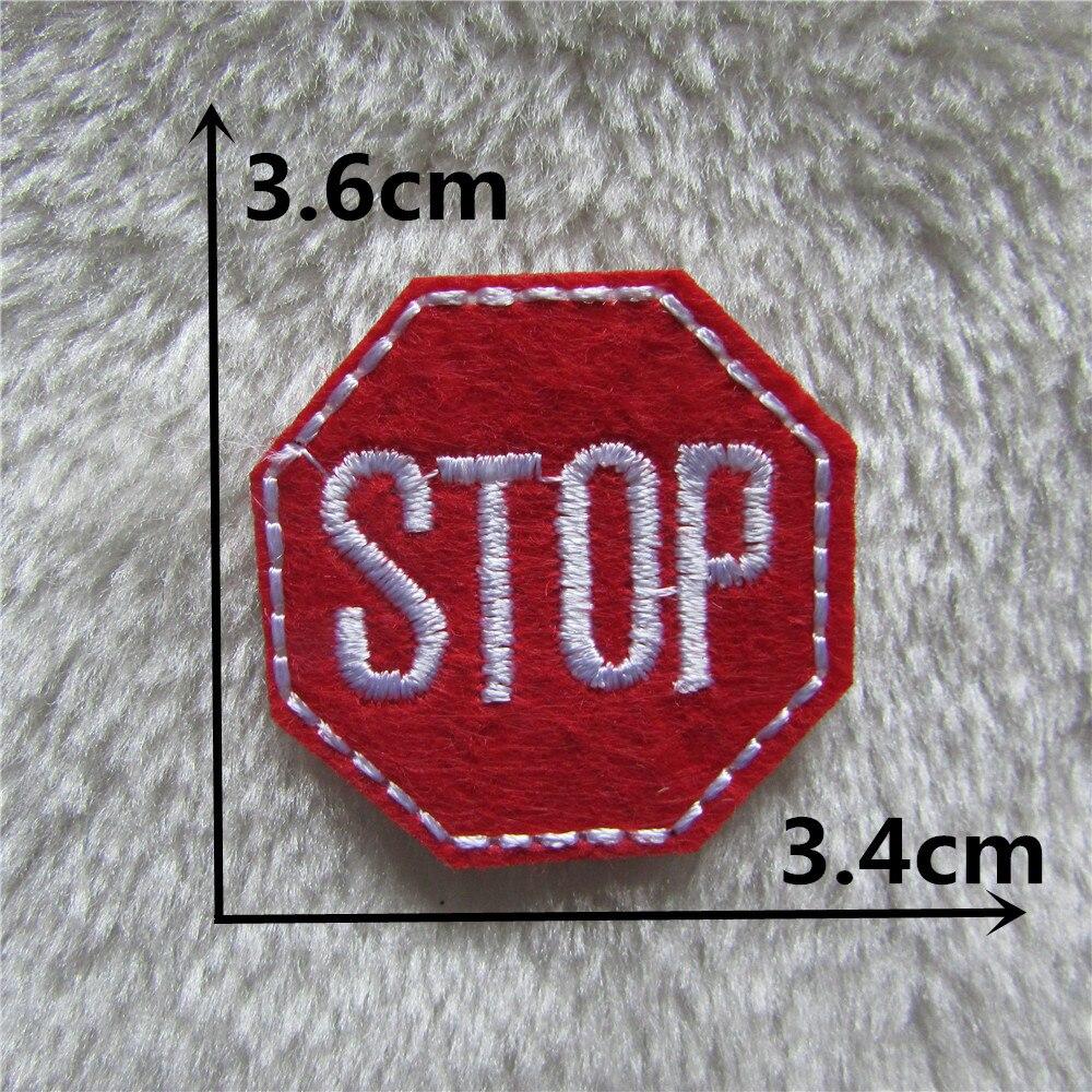 1pcs red color stop logo patches stripes clothing for Applique decoration