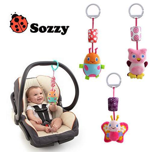 Candice guo! Newest arrival sozzy cute animal butterfly ladybug owl bed hang campanula rattle bell ring baby toy gift 1pc