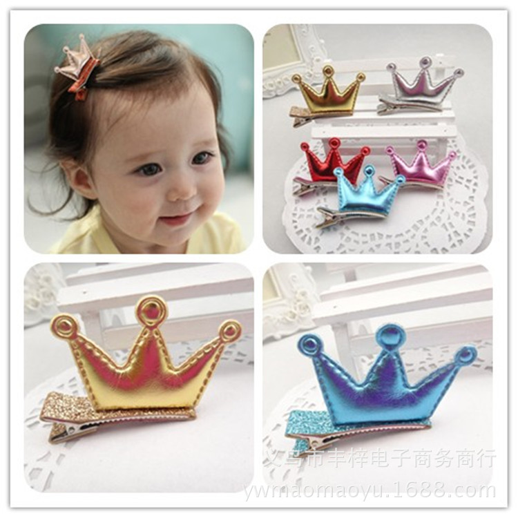 FJ059 fashion New arrival PU leather Tiaras hair clips for girl crown design hairpins party hair accessories   6 colors ming dynasty emperor s hat imitate earthed emperor wanli gold mesh hat groom wedding hair tiaras for men 3 colors