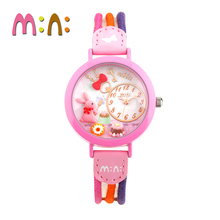 MINI Kids Watch Children Watch Fashion Cute Simple Girls Waterproof Korea Rabbit Star Leather clock