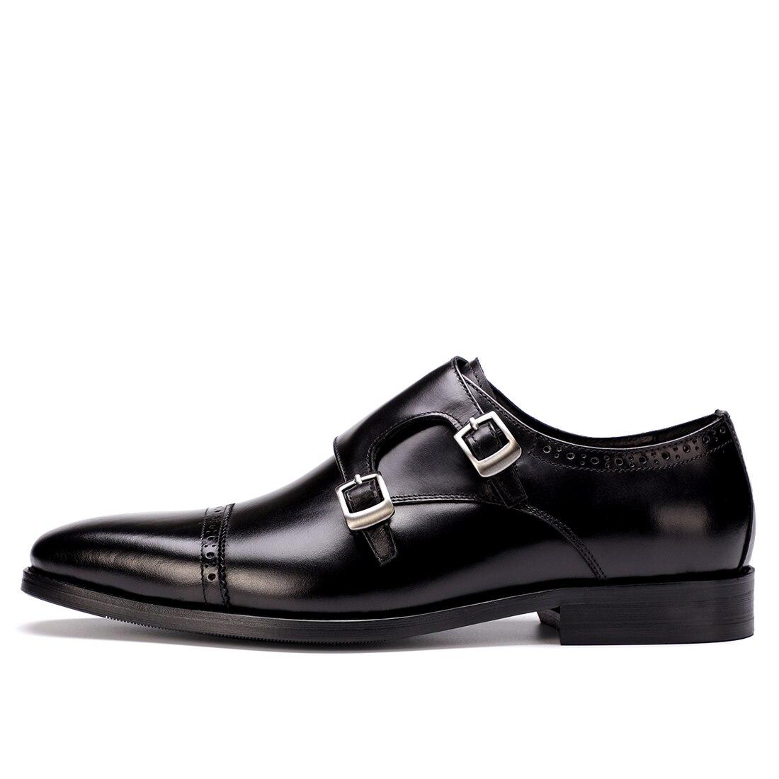 6d99a4e43b 2018 Hebilla Negro Oxford Del Cuero Pie marrón Genuino Negocio Interior  Vestido Cuadrados Brogue Dedo Vaca Zapatos Monje De Derby Cerdo Boda  CCUHwqzxt6