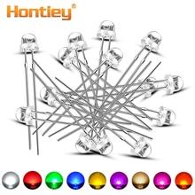 Hontiey 100 stücke 5mm F5 Stroh Hut Diode licht DIY LED Weiß Gelb Rot Blau Grün Runde Wasser Klar licht Emittierende Lampe Perlen