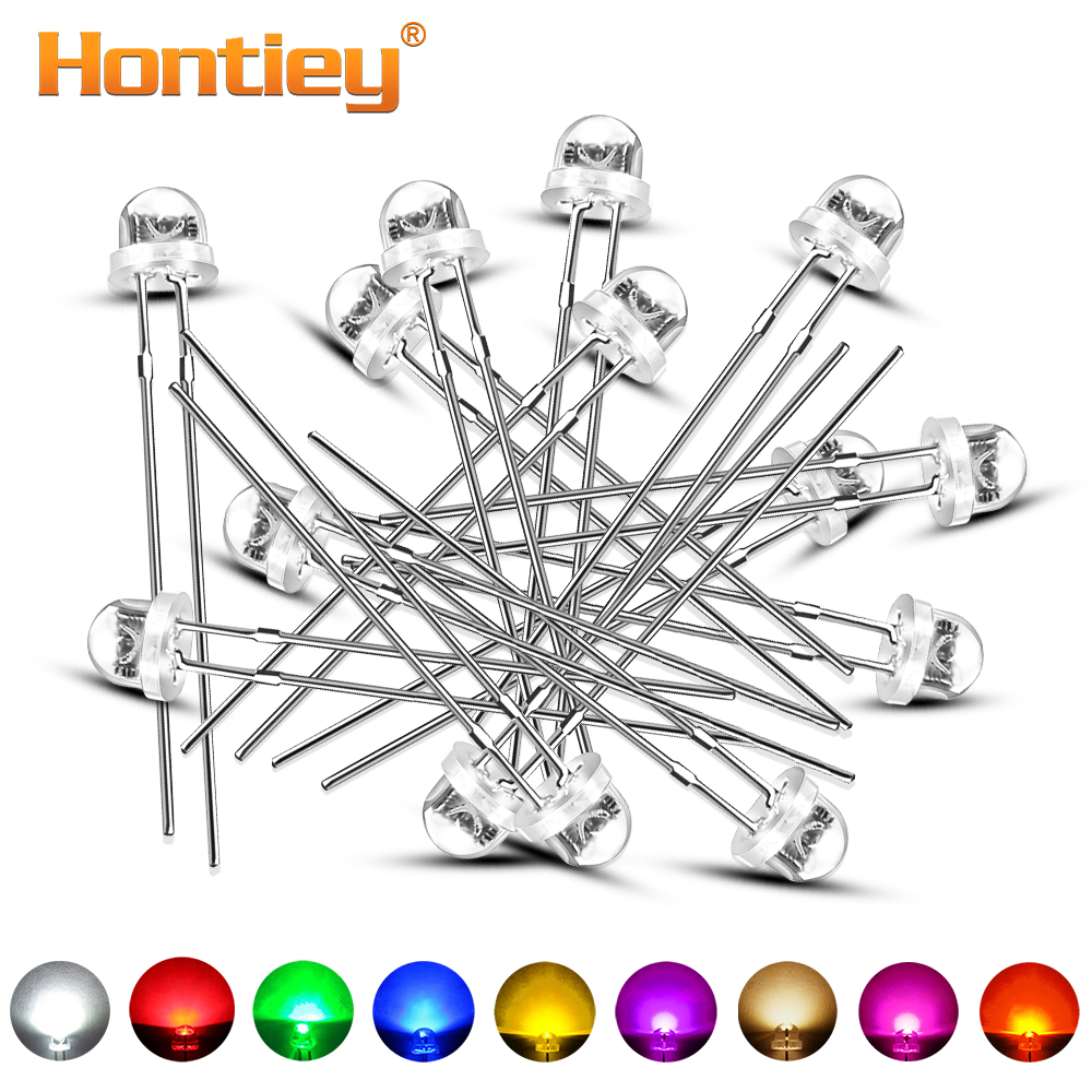 Hontiey 100pcs 5mm F5 Straw Hat Diode Light DIY LED White Yellow Red Blue Green Round Water Clear Light Emitting Lamp Beads
