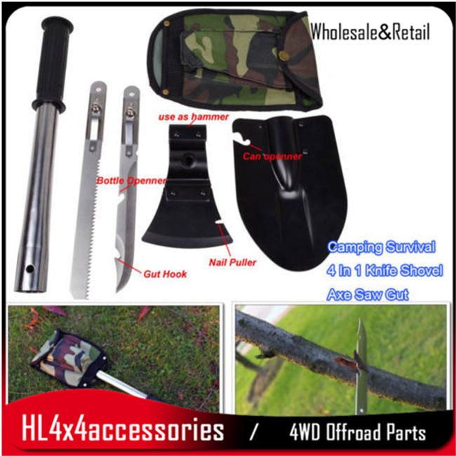 Camping Survival 4 In 1 Shovel Knife Axe Saw Gut Hiking Emergency Gear Kit Tools 4x4 camping hiking out door parts