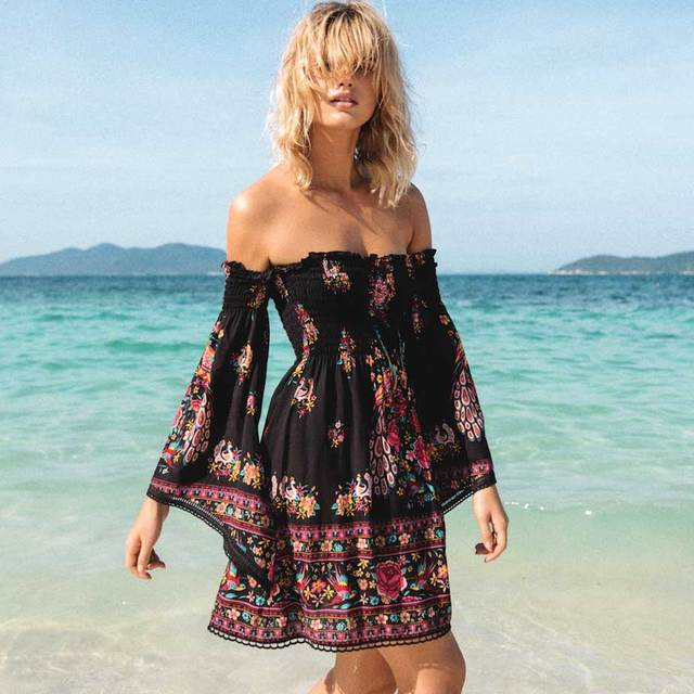 7b4fbe0608d BOHO INSPIRED black floral coachella women dress long bell sleeves off  shoulder mini summer dresses rayon
