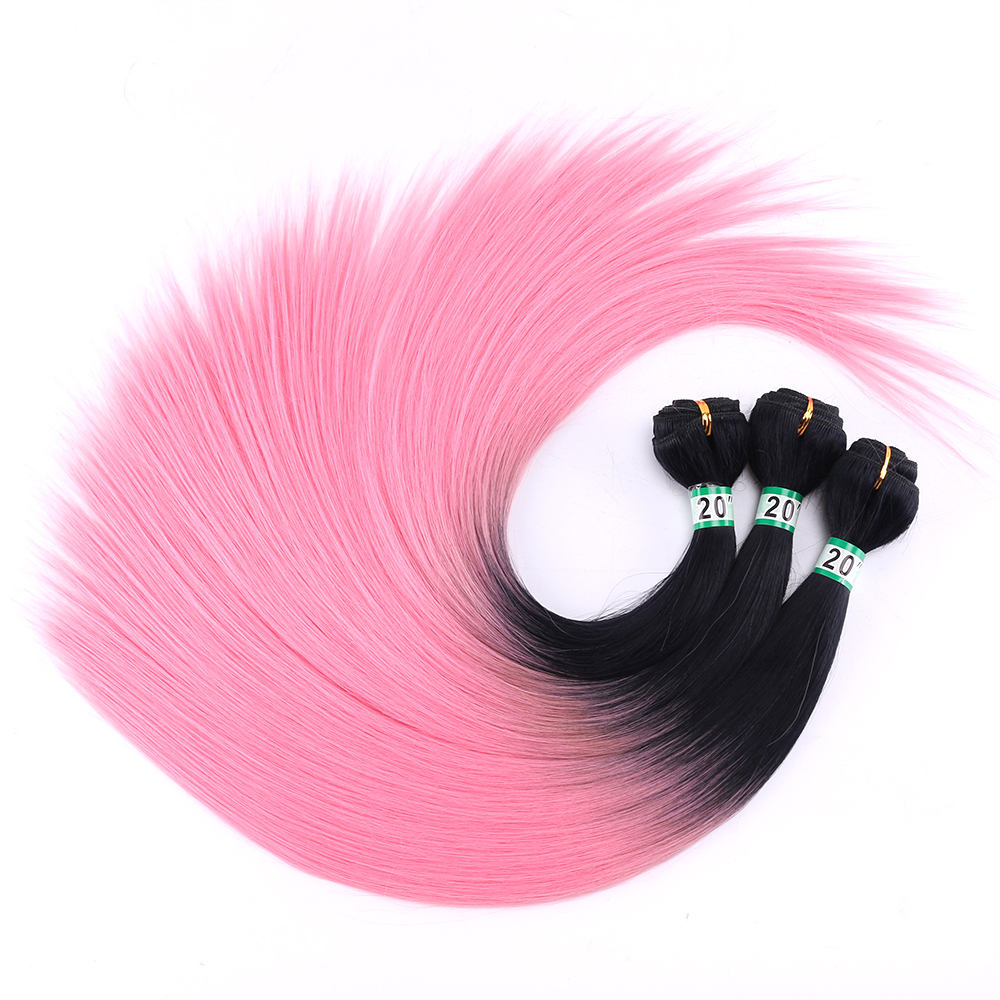 Available Ombre Hair Black To Light Pink Straight Synthetic Hair Weaving