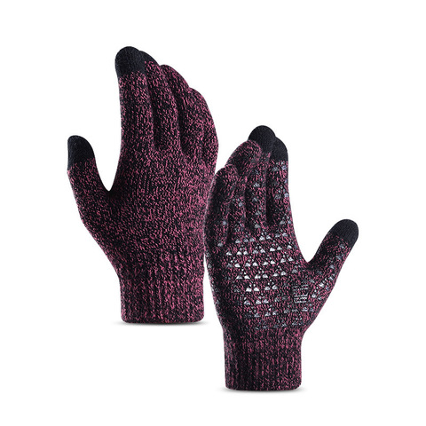 Winter Autumn Warm Men Knitted Gloves Flexible Full Finger Gloves Male Thicken Wool Cashmere Solid Gloves for Smart Phone Tablet Islamabad