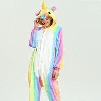 Winter Adult Cute Animal Unicorn Pajama Sets Flannel Rainbow Pyjama Women Long Hooded Child Onesie Unicornio