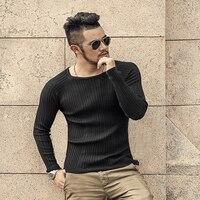 2017 Erkekler Casual Kazak Uzun Kollu Örme Kazak Erkek Düz Renk yüksek Kalite Triko Erkekler Slim fit O Boyun Sıcak Satış Kazak