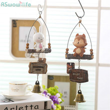 Fox Rabbit Resin Doll Hanging Ornaments Creative Wind Chime Pendant Decorations Japanese Style Home
