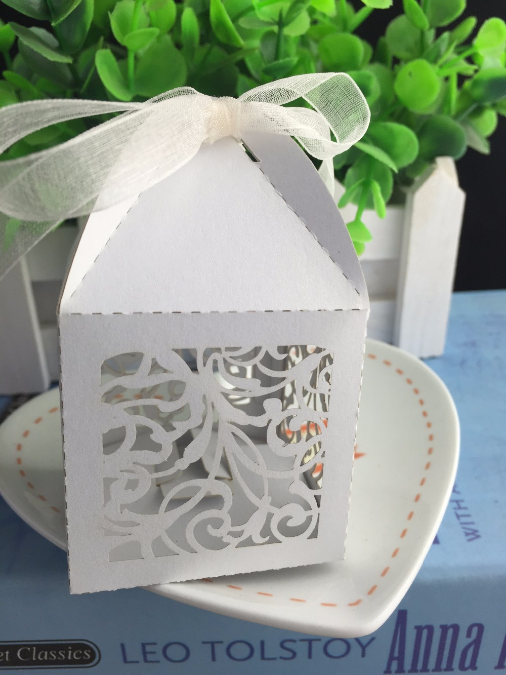 100pcs White Color Laser Cut Cake Box with ribbon,Cookies Biscuit ...