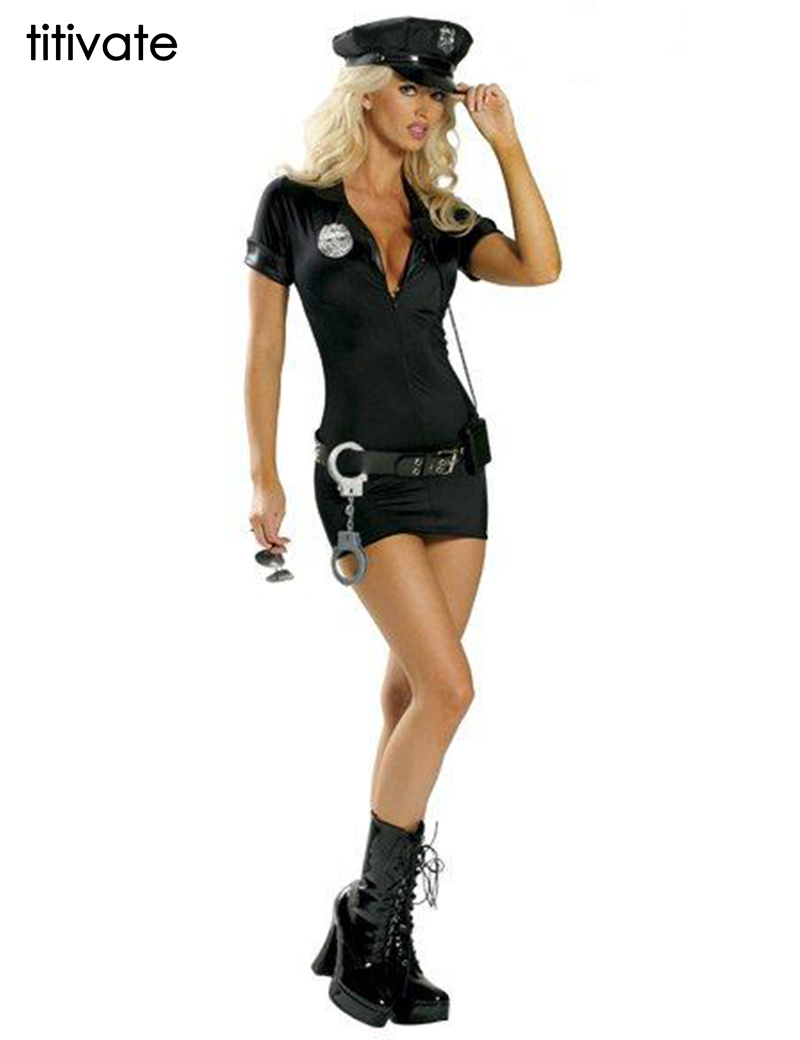 TITIVATE Halloween Costume Sexy Spandex Sexy Police Cosplay Uniform Police Costume Traffic Cop Dresses For Women