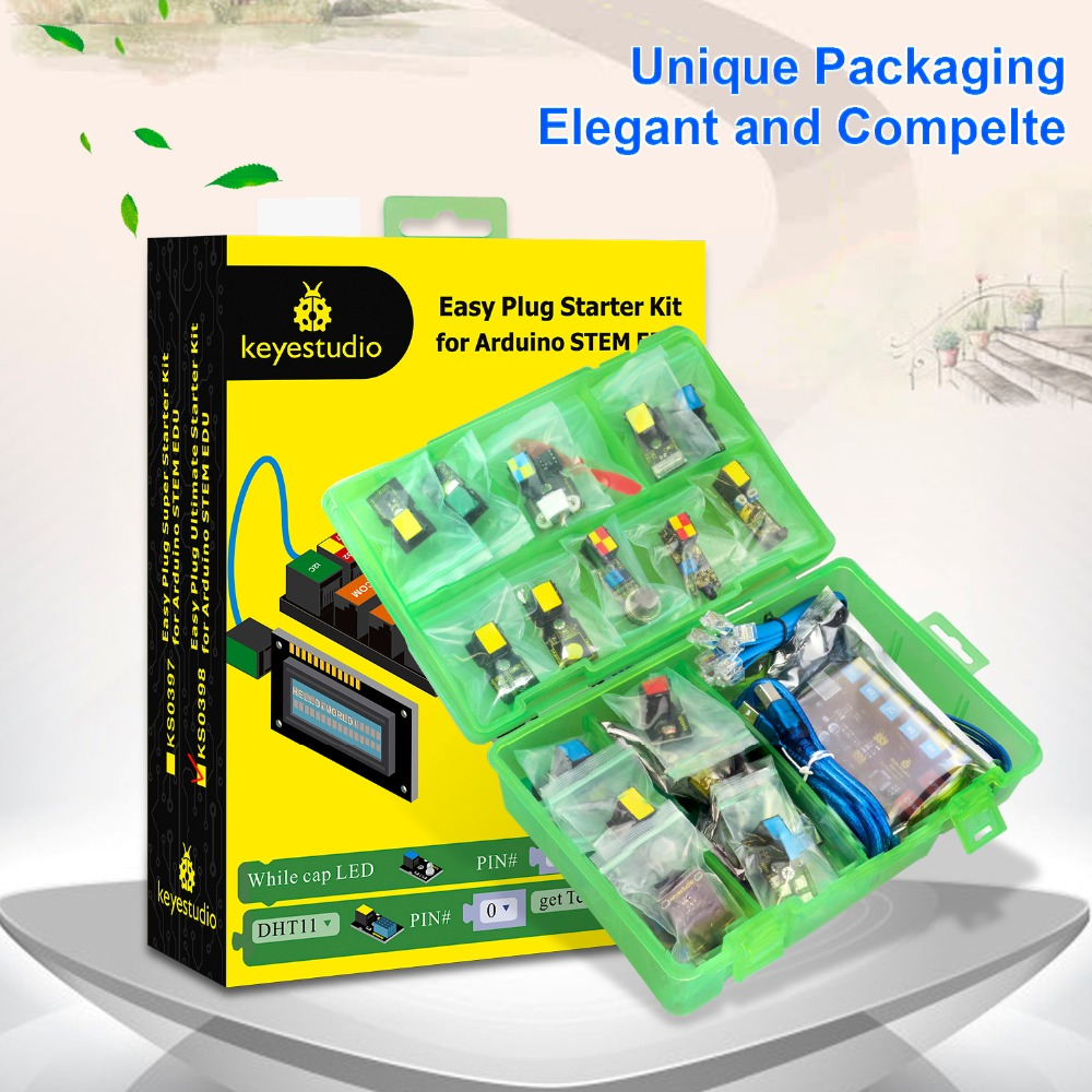 keyestudio EASY plug RJ11 Ultimate Starter Learning Kit for Arduino STEM EDU Compatible With Mixly Block