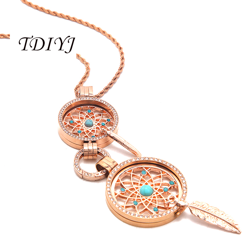 цена TDIYJ Deluxe Rose Gold 25mm/33mm My Coin Necklace Dream Catcher Coin Disc Frame Pendant Necklace for Women Jewelry 1Set