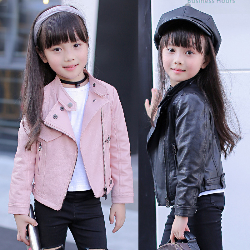 Jackets Coats Outerwear Windbreaker Zipper Teen Girls Kids Children's Clothing Pu