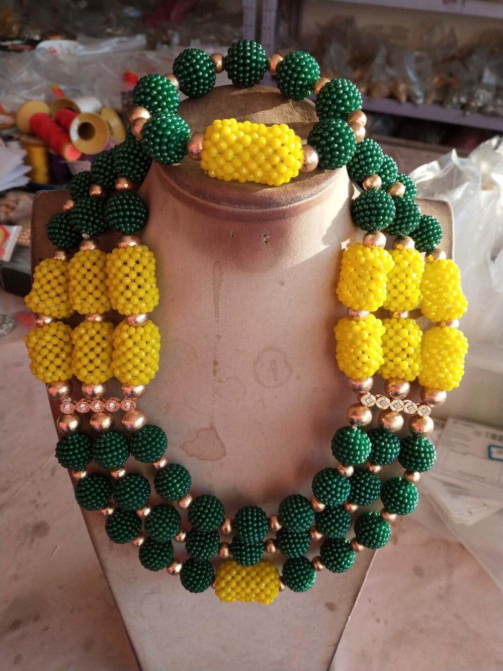 2018 nouveaux colliers ensemble perles de cristal jaune et vert collier boule Bracelet boucle d'oreille ensemble le meilleur cadeau livraison gratuite HX740