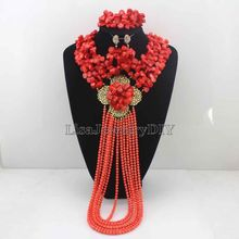Fashionable African Beads Jewelry Sets Coral Jewelry Set Nigerian Wedding Necklace Womens Jewellery Set Jewelry Sets HD7009
