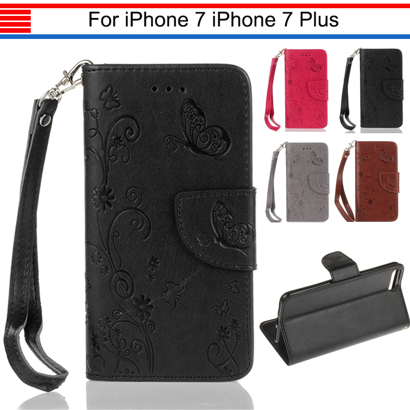 JURCHEN Cover Case For iPhone 7 Plus Case Cover Luxury Leather Flip Wallet TPU Soft Cover For iPone 7 Plus 7Plus Case Silicone