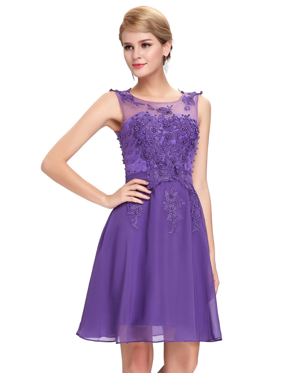 Grace karin vestidos de gasa corto de baile rosa púrpura negro verde ...