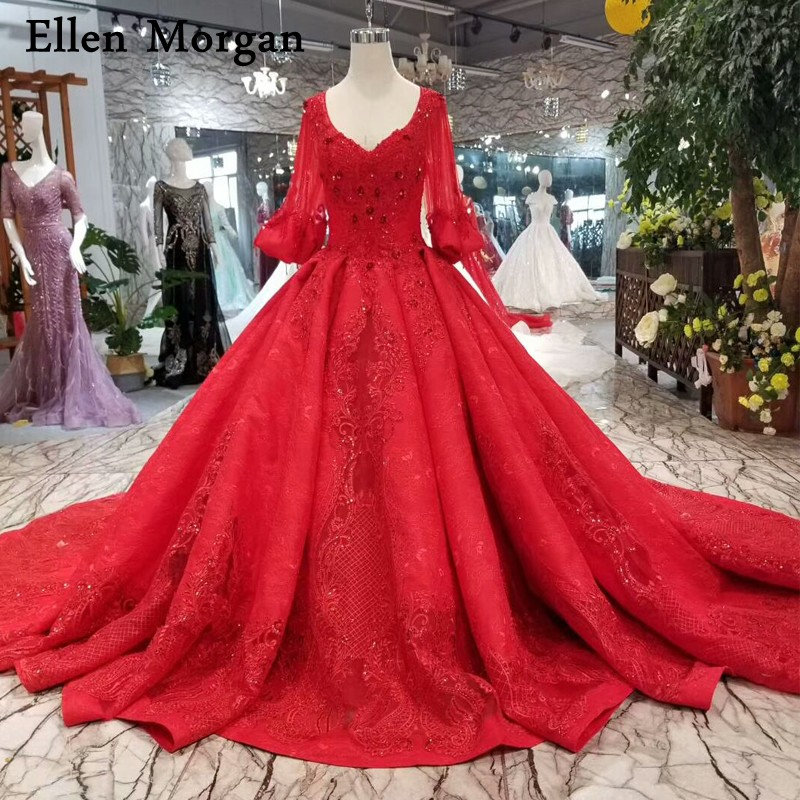 Aliexpress.com : Buy Elegant Red Lace Ball Gowns Wedding