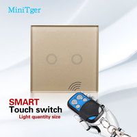 2 Gang Intermediate Touch Switches 2 Gang 1 Way 110V 240V Wall Touch Switch Led Glass