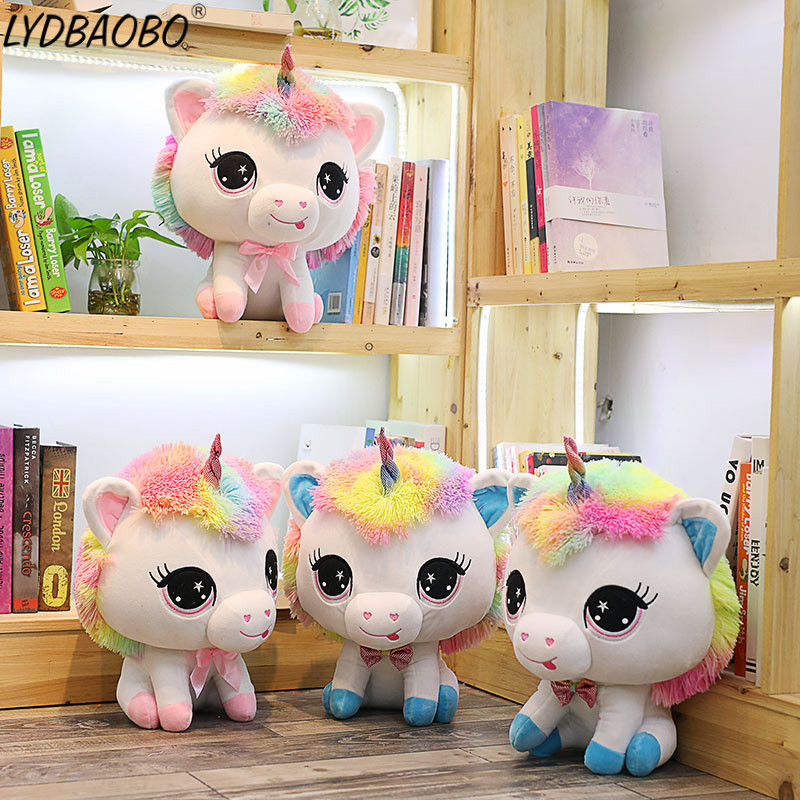 1PC 35CM Cartoon Rainbow Unicorn Stuffed Plush Doll Kid Cute Unicorn Animal Soft Pillow Doll Children Birthday Gift Home Decora lovely 35cm cartoon alpaca plush doll toy fabric sheep soft stuffed animal plush llama yamma birthday gift for baby kid children