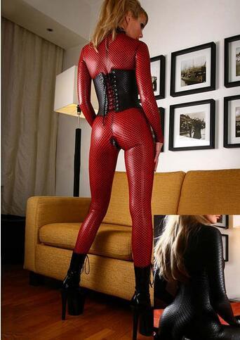 Hot Women Faux Leather Jumpsuit Snake Skin Jumpsuit Front Zip Long SLeeve Bodysuit Spandex Catsuit Women Size S-2xl