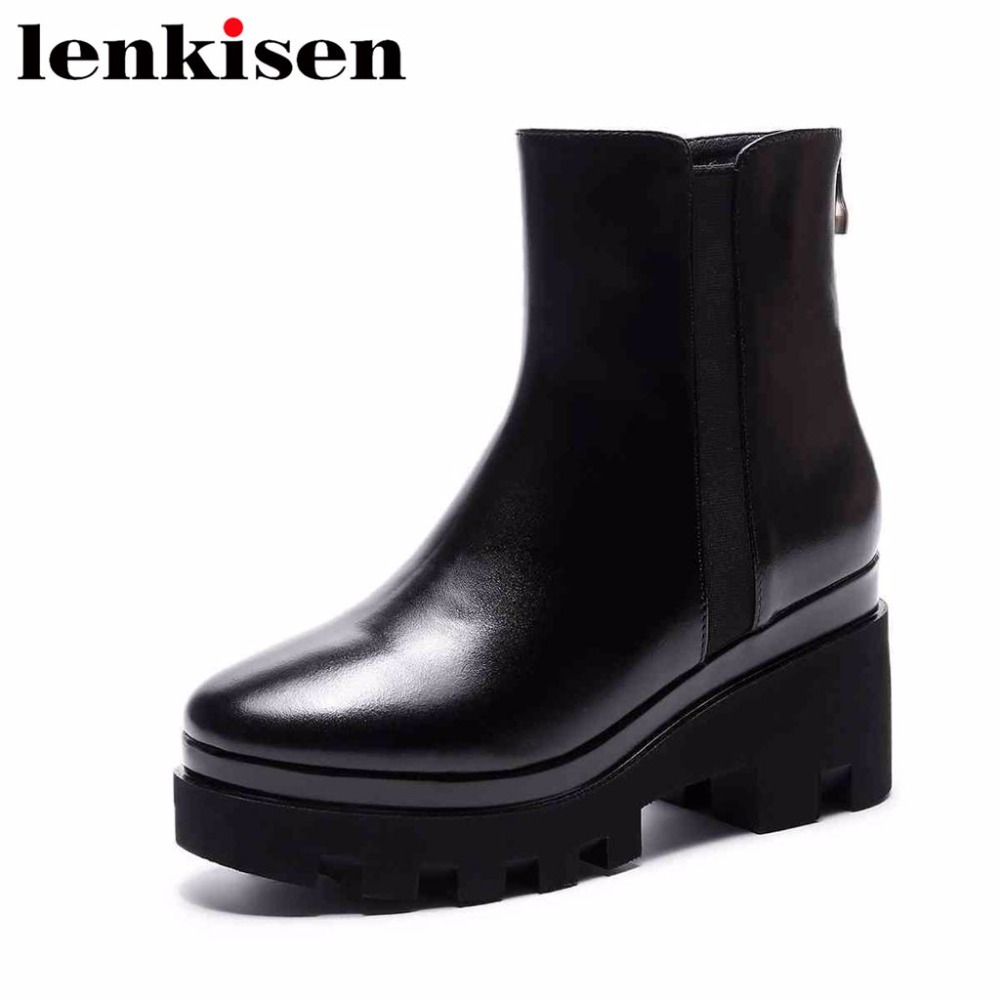 Lenkisen vintage cow leather high heels zip round toe european design all-match black color woman autumn winter ankle boots L5f2 hot chic woman leather ankle boots spring autumn round toe metal decro side zip black boots high heels woman design runway boots
