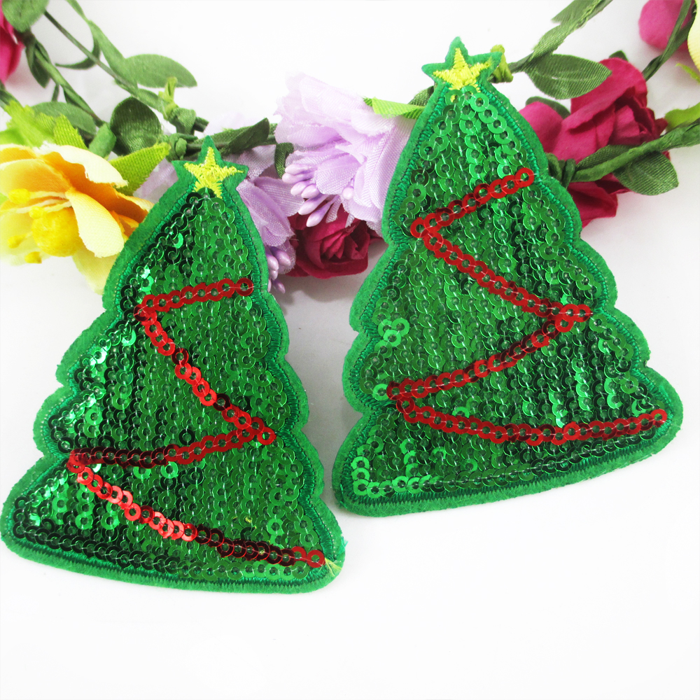 Christmas Tree Patch: Christmas Tree Sequin Embroidery Patch Diy Clothing Patch